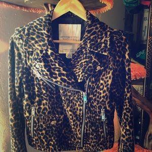 Leopard print velvet moto biker jacket